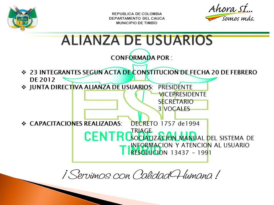 REPUBLICA DE COLOMBIA DEPARTAMENTO DEL CAUCA MUNICIPIO DE TIMBÍO ALIANZA DE USUARIOS CONFORMADA POR : 23 INTEGRANTES SEGUN ACTA DE CONSTITUCION DE FEC
