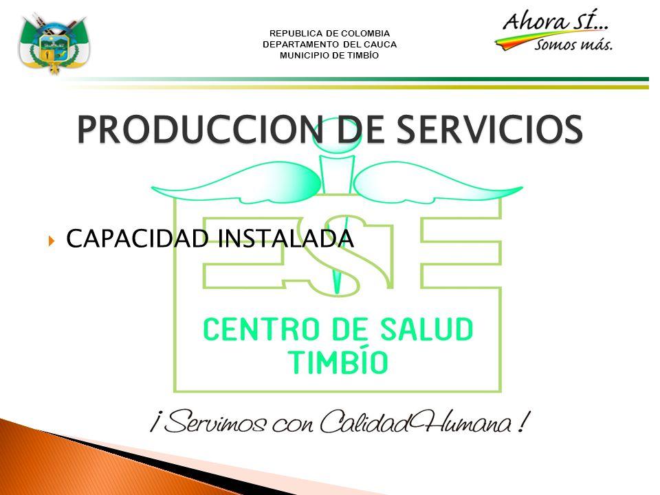 REPUBLICA DE COLOMBIA DEPARTAMENTO DEL CAUCA MUNICIPIO DE TIMBÍO PRODUCCION DE SERVICIOS CAPACIDAD INSTALADA