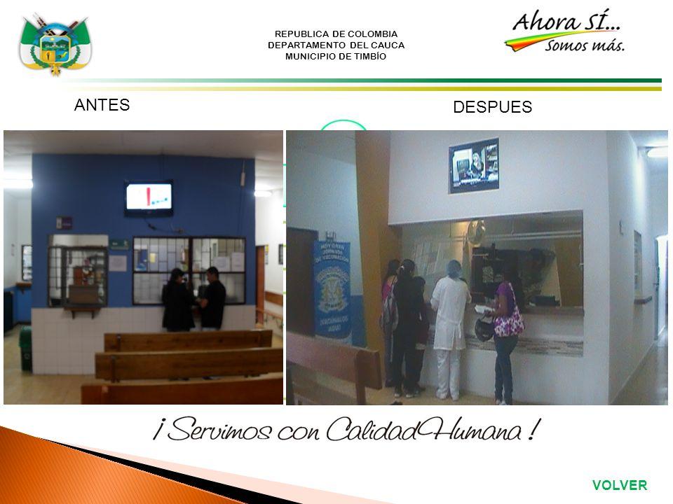 REPUBLICA DE COLOMBIA DEPARTAMENTO DEL CAUCA MUNICIPIO DE TIMBÍO ANTES DESPUES VOLVER