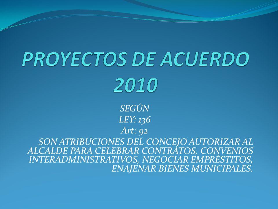 SEGÚN LEY: 136 Art: 92 SON ATRIBUCIONES DEL CONCEJO AUTORIZAR AL ALCALDE PARA CELEBRAR CONTRATOS, CONVENIOS INTERADMINISTRATIVOS, NEGOCIAR EMPRÉSTITOS