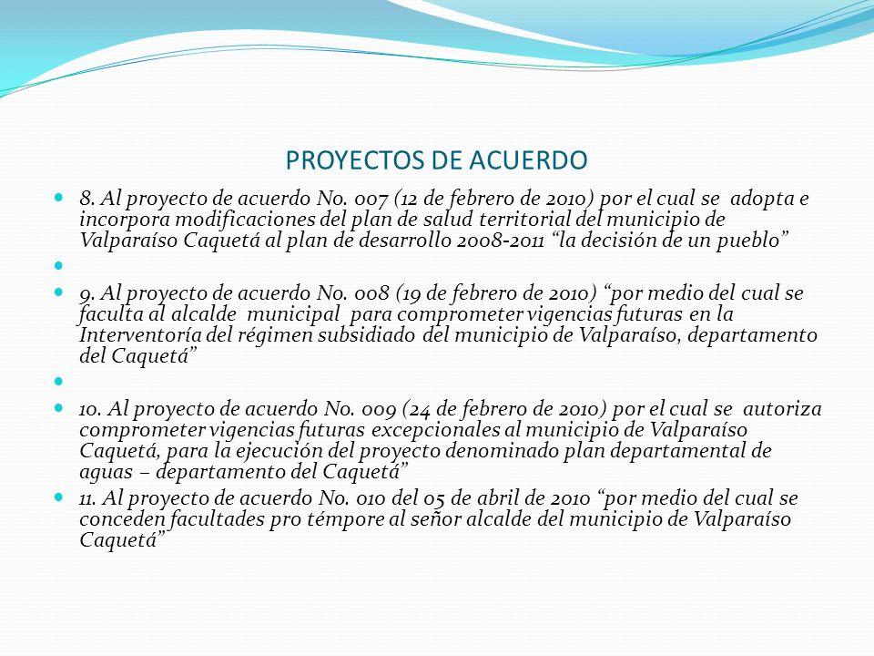 PROYECTOS DE ACUERDO 8. Al proyecto de acuerdo No. 007 (12 de febrero de 2010) por el cual se adopta e incorpora modificaciones del plan de salud terr