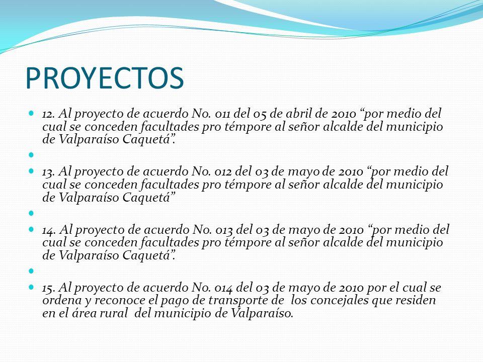 PROYECTOS 12. Al proyecto de acuerdo No. 011 del 05 de abril de 2010 por medio del cual se conceden facultades pro témpore al señor alcalde del munici