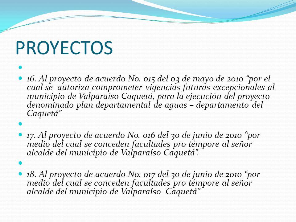 PROYECTOS 16. Al proyecto de acuerdo No. 015 del 03 de mayo de 2010 por el cual se autoriza comprometer vigencias futuras excepcionales al municipio d