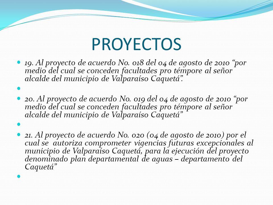 PROYECTOS 19. Al proyecto de acuerdo No. 018 del 04 de agosto de 2010 por medio del cual se conceden facultades pro témpore al señor alcalde del munic