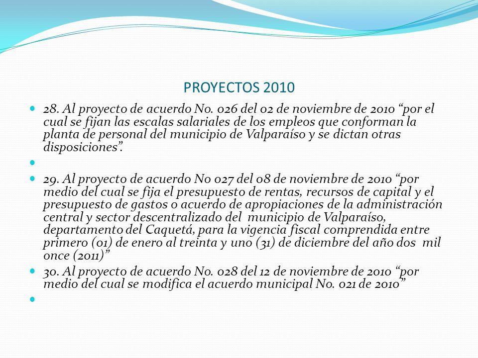 PROYECTOS 2010 28. Al proyecto de acuerdo No. 026 del 02 de noviembre de 2010 por el cual se fijan las escalas salariales de los empleos que conforman