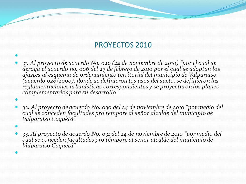 PROYECTOS 2010 31. Al proyecto de acuerdo No. 029 (24 de noviembre de 2010) por el cual se deroga el acuerdo no. 006 del 27 de febrero de 2010 por el