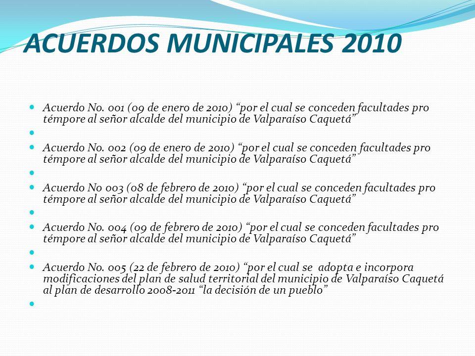 ACUERDOS MUNICIPALES 2010 Acuerdo No. 001 (09 de enero de 2010) por el cual se conceden facultades pro témpore al señor alcalde del municipio de Valpa