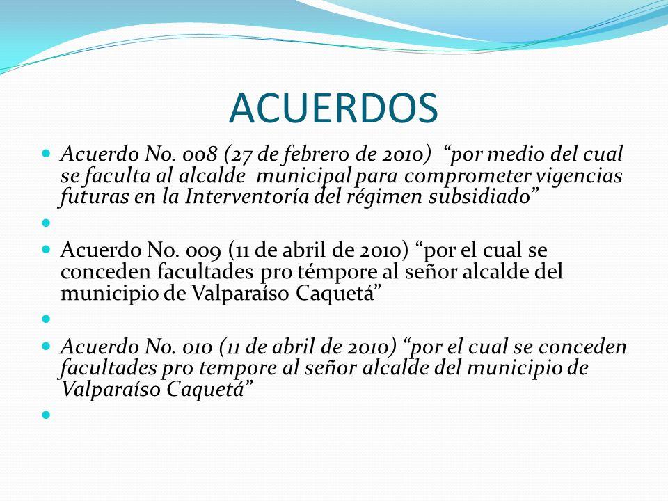 ACUERDOS Acuerdo No. 008 (27 de febrero de 2010) por medio del cual se faculta al alcalde municipal para comprometer vigencias futuras en la Intervent