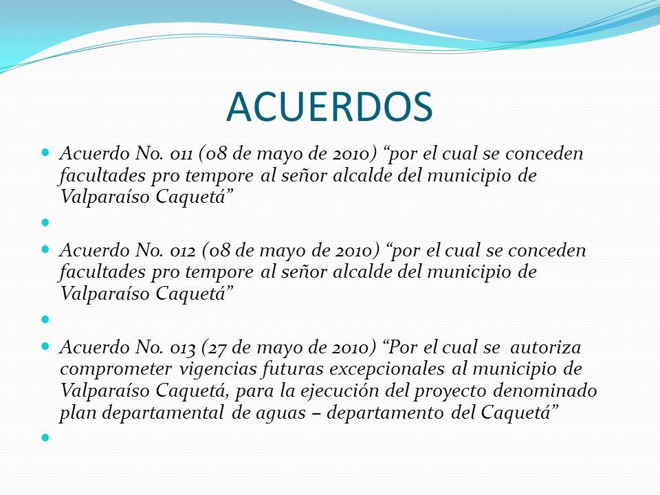 ACUERDOS Acuerdo No. 011 (08 de mayo de 2010) por el cual se conceden facultades pro tempore al señor alcalde del municipio de Valparaíso Caquetá Acue