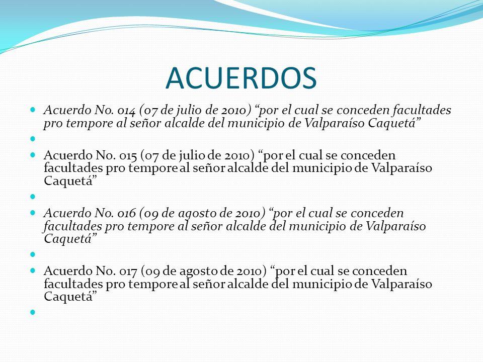 ACUERDOS Acuerdo No. 014 (07 de julio de 2010) por el cual se conceden facultades pro tempore al señor alcalde del municipio de Valparaíso Caquetá Acu