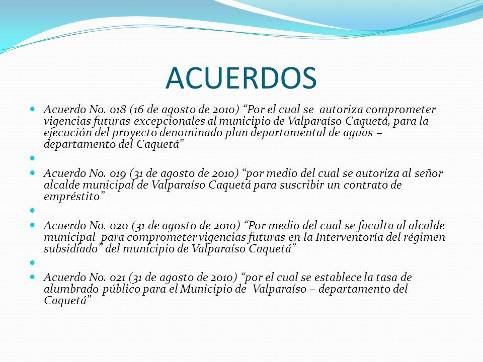 ACUERDOS Acuerdo No. 018 (16 de agosto de 2010) Por el cual se autoriza comprometer vigencias futuras excepcionales al municipio de Valparaíso Caquetá