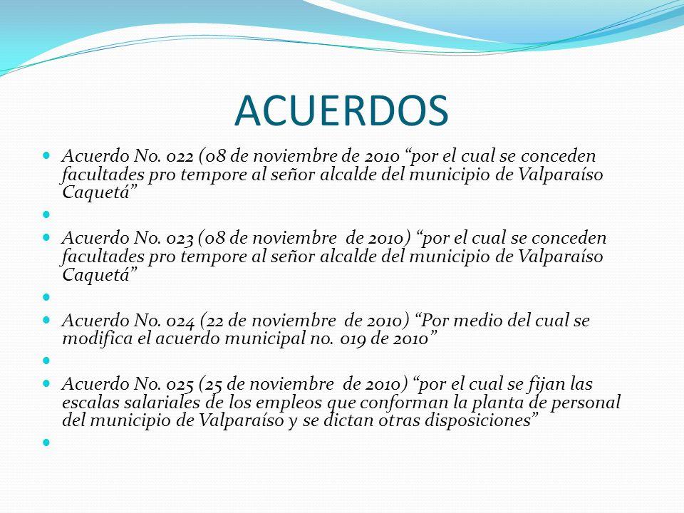 ACUERDOS Acuerdo No. 022 (08 de noviembre de 2010 por el cual se conceden facultades pro tempore al señor alcalde del municipio de Valparaíso Caquetá