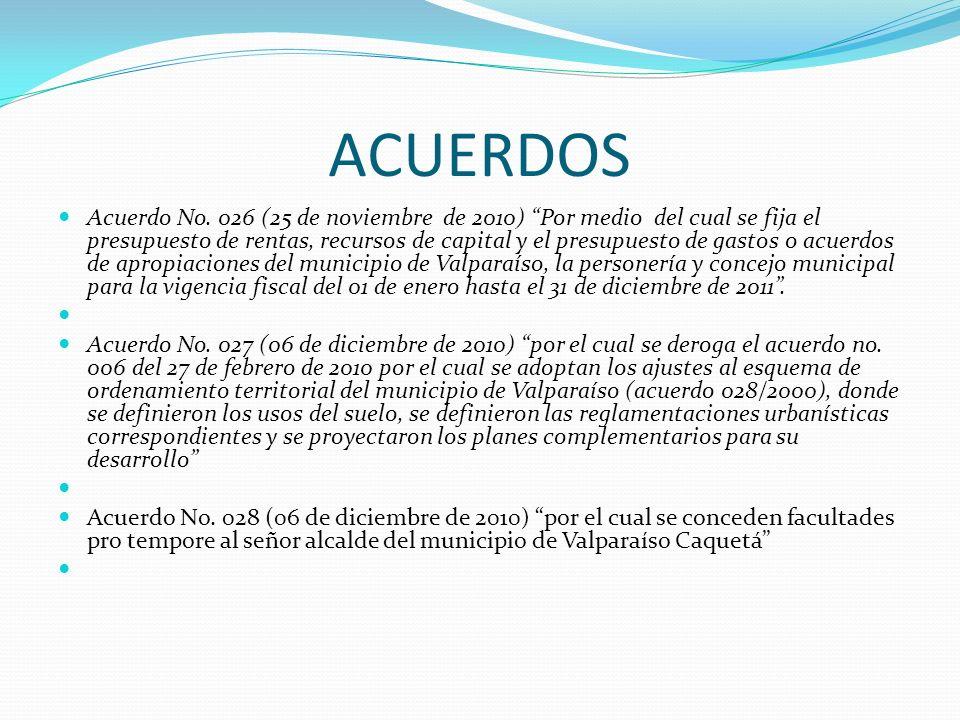 ACUERDOS Acuerdo No. 026 (25 de noviembre de 2010) Por medio del cual se fija el presupuesto de rentas, recursos de capital y el presupuesto de gastos