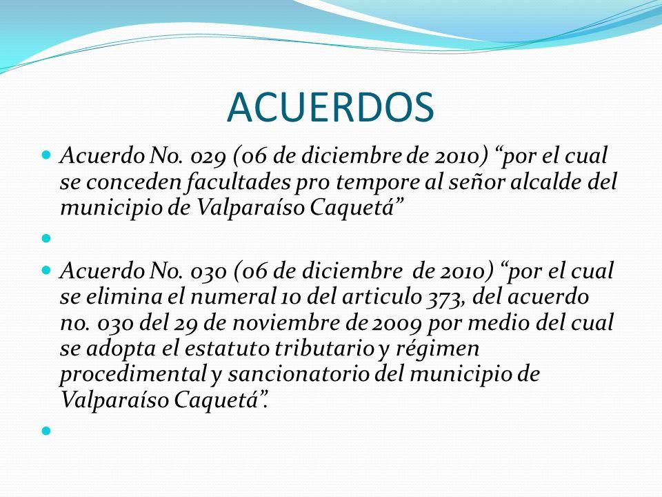 ACUERDOS Acuerdo No. 029 (06 de diciembre de 2010) por el cual se conceden facultades pro tempore al señor alcalde del municipio de Valparaíso Caquetá