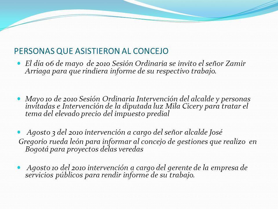 PERSONAS QUE ASISTIERON AL CONCEJO El día 06 de mayo de 2010 Sesión Ordinaria se invito el señor Zamir Arriaga para que rindiera informe de su respect