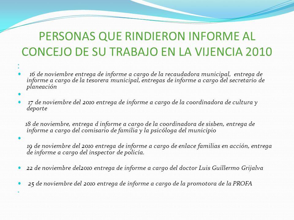 PERSONAS QUE RINDIERON INFORME AL CONCEJO DE SU TRABAJO EN LA VIJENCIA 2010 16 de noviembre entrega de informe a cargo de la recaudadora municipal, en
