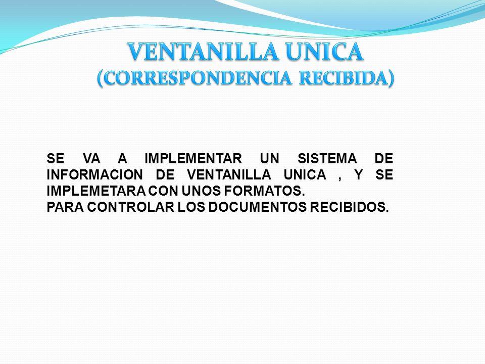 SE VA A IMPLEMENTAR UN SISTEMA DE INFORMACION DE VENTANILLA UNICA, Y SE IMPLEMETARA CON UNOS FORMATOS. PARA CONTROLAR LOS DOCUMENTOS RECIBIDOS.