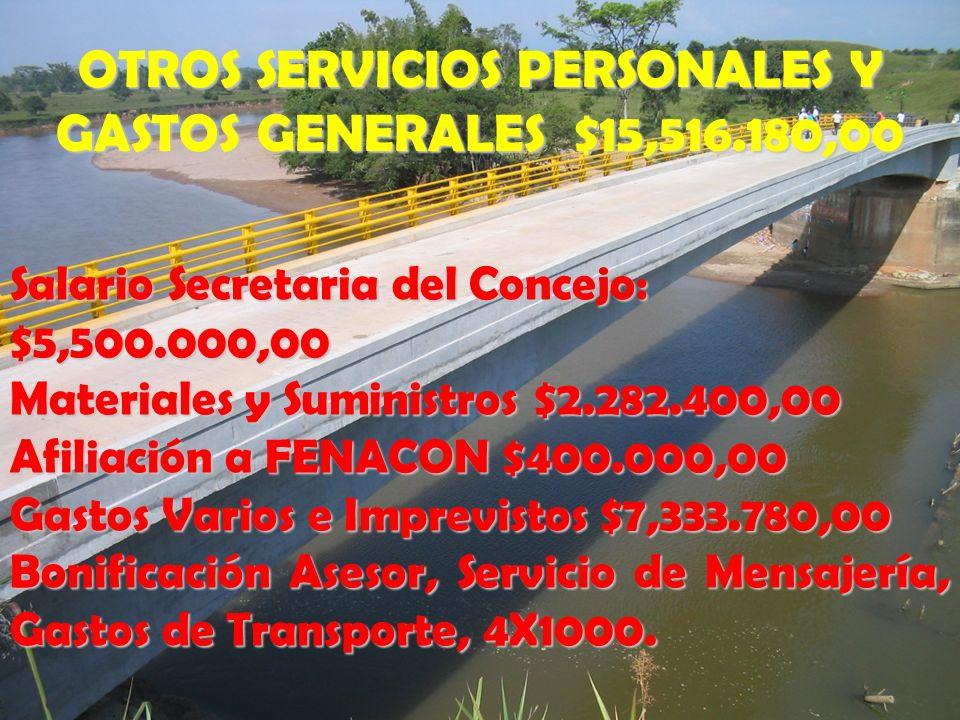 OTROS SERVICIOS PERSONALES Y GASTOS GENERALES $15,516.180,00 Salario Secretaria del Concejo: $5,500.000,00 Materiales y Suministros $2.282.400,00 Afil