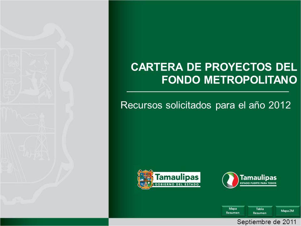 Septiembre de 2011 CARTERA DE PROYECTOS DEL FONDO METROPOLITANO Recursos solicitados para el año 2012 Tabla Resumen Tabla Resumen Mapa Resumen Mapa Resumen Mapa ZM