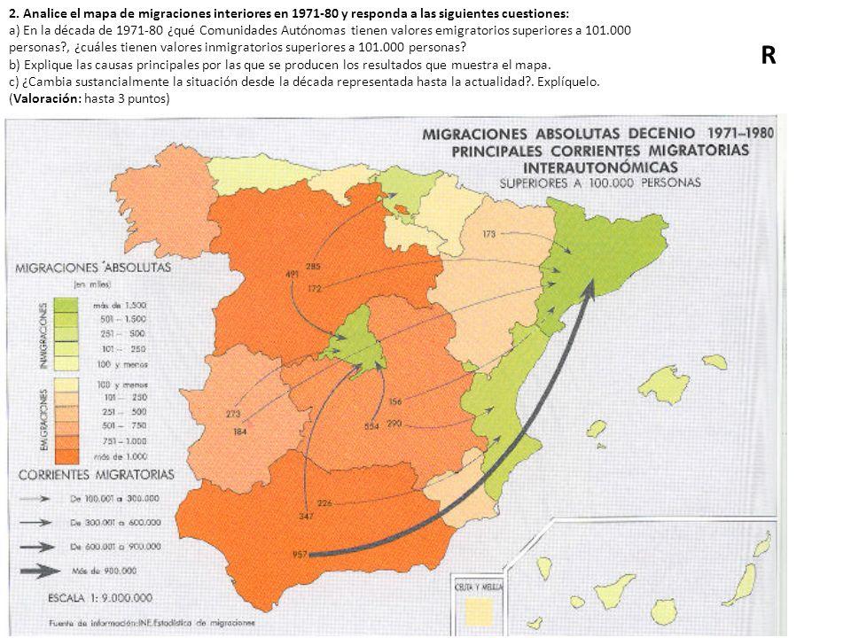 2. Analice el mapa de migraciones interiores en 1971-80 y responda a las siguientes cuestiones: a) En la década de 1971-80 ¿qué Comunidades Autónomas