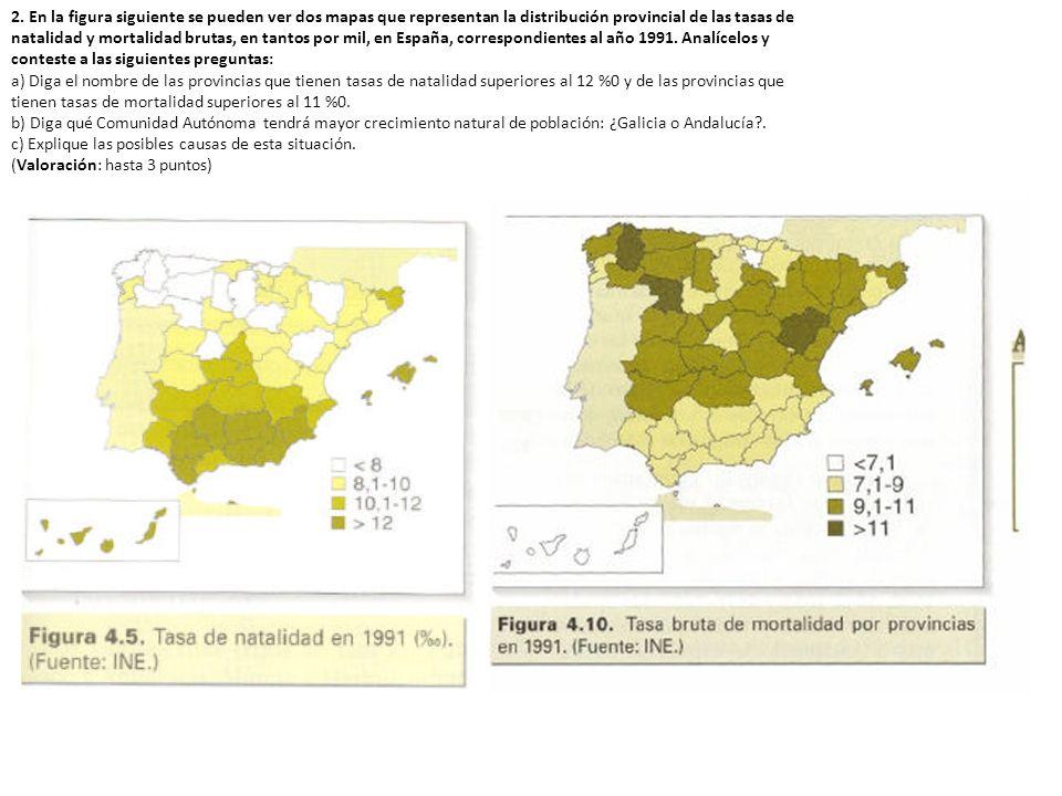 2. En la figura siguiente se pueden ver dos mapas que representan la distribución provincial de las tasas de natalidad y mortalidad brutas, en tantos