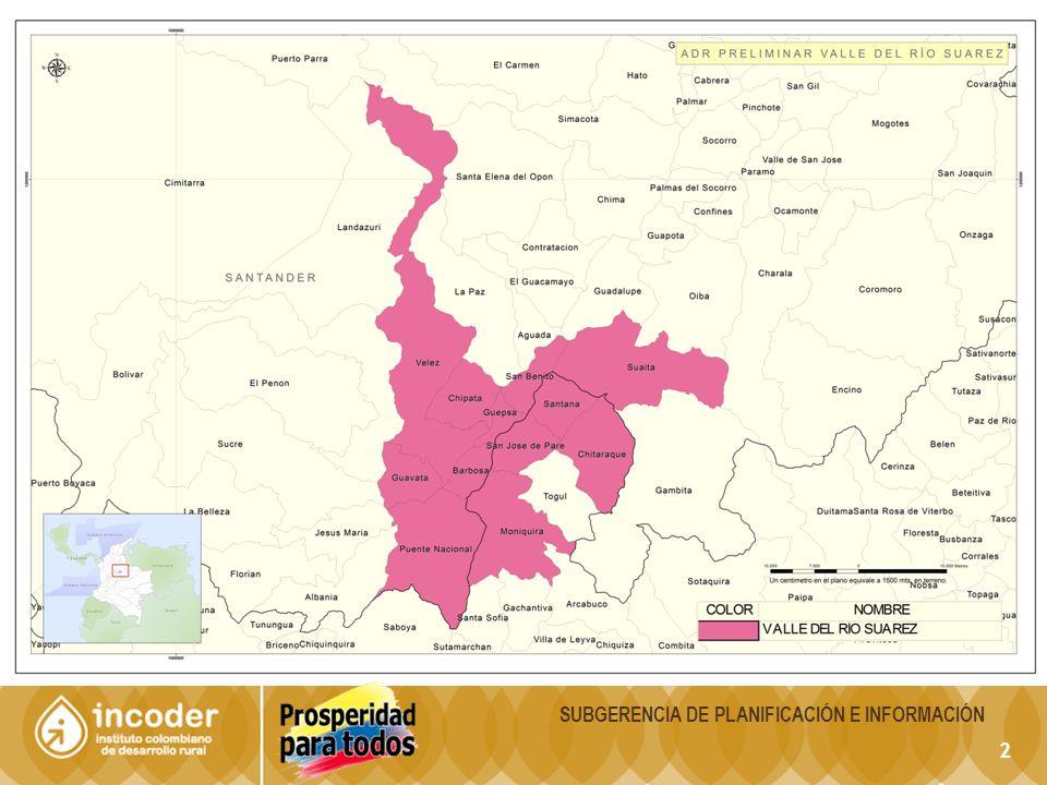 33 DescripciónSantanderBoyacáTotal Total Municipios87123210 Municipios en el ADR8513 Área en Kmts230.53723.18953.726 Área en el ADR1.3126431.955 Población Total 2.057.7891.211.1863.268.975 Población en el ADR87.77346.024133.797 CARACTERIZACIÓN ADR HOYA DEL RIO SUAREZ