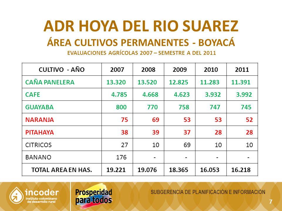18 SUBGERENCIA DE PLANIFICACIÓN E INFORMACIÓN ADR HOYA DEL RIO SUAREZ ÁREA CULTIVOS SEMIPERMANENTES (CONSOLIDADO) EVALUACIONES AGRÍCOLAS 2005 – SEMESTRE A DEL 2011 CULTIVO - AÑO20072008200920102011 PLATANO 1.406 1.419 1.513 1.523 1.636 YUCA 1.115 757 630 708 691 LULO 65 59 64 143 197 MORA 53 96 95 101 109 HELICONIA - - 15 17 16 PAPAYA - 16 14 25 ARRACACHA - - - 11 10 CAÑA MIEL 376 - - - - TOTAL AREA EN HAS.