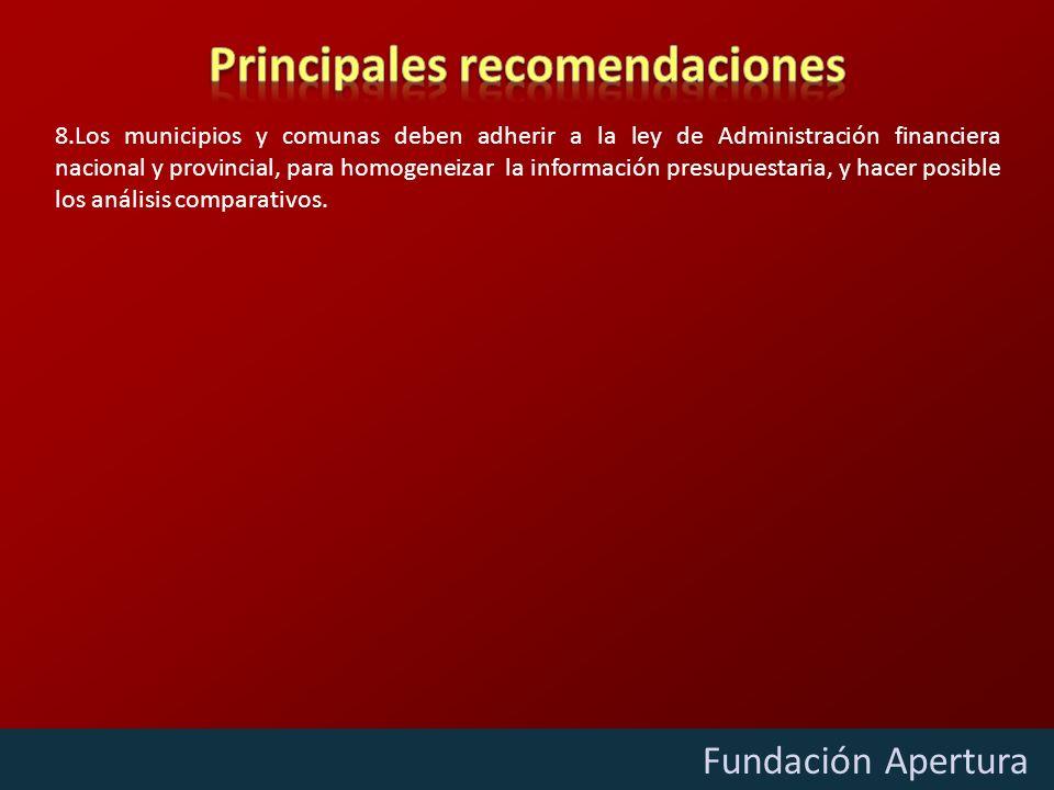 Diciembre - 2009 Fundación Apertura 8.Los municipios y comunas deben adherir a la ley de Administración financiera nacional y provincial, para homogeneizar la información presupuestaria, y hacer posible los análisis comparativos.