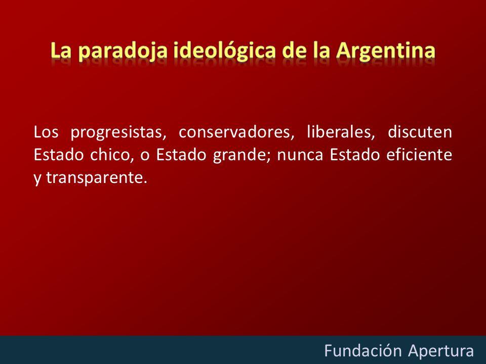 Diciembre - 2009 Fundación Apertura Los progresistas, conservadores, liberales, discuten Estado chico, o Estado grande; nunca Estado eficiente y trans