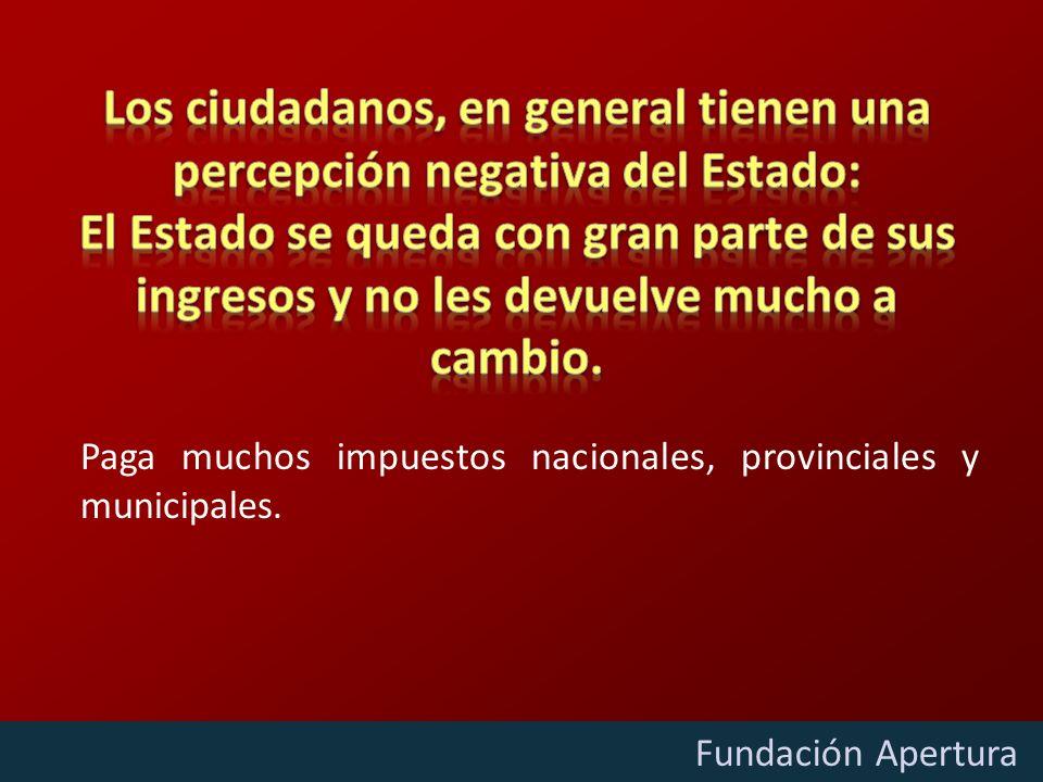 Diciembre - 2009 Fundación Apertura Paga muchos impuestos nacionales, provinciales y municipales.