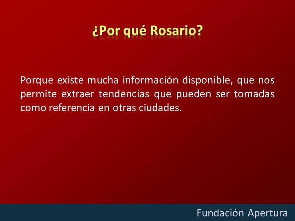 Diciembre - 2009 Fundación Apertura Porque existe mucha información disponible, que nos permite extraer tendencias que pueden ser tomadas como referencia en otras ciudades.