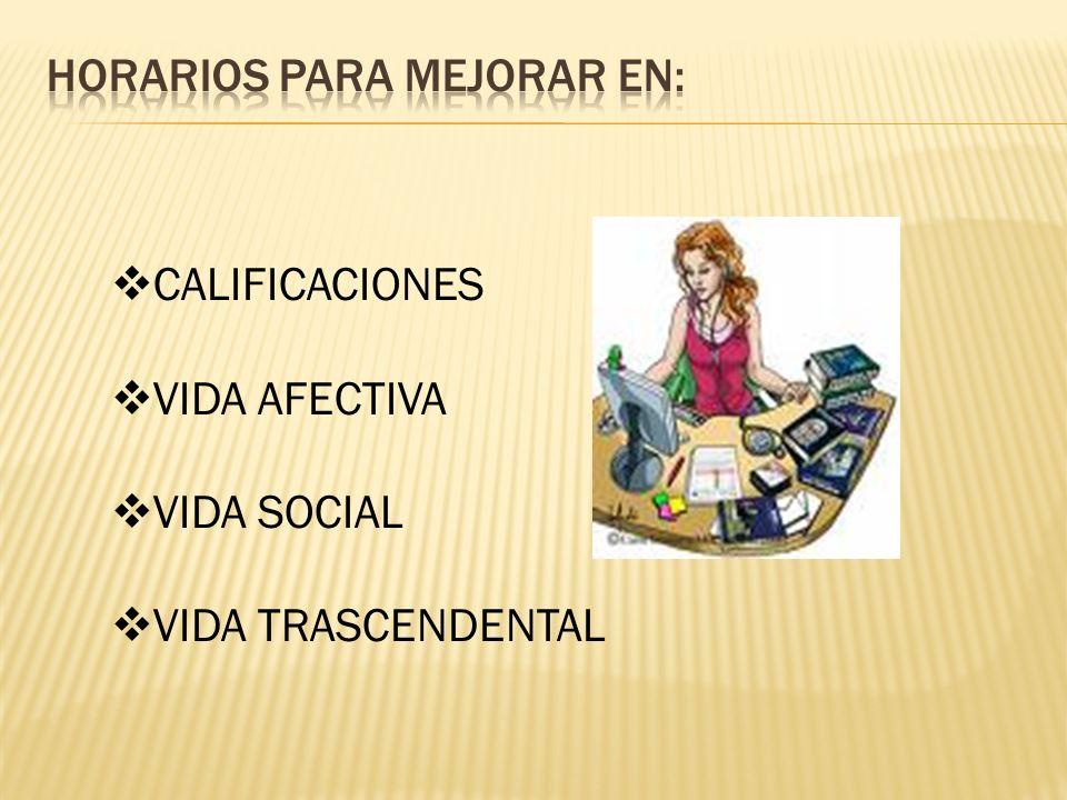 CALIFICACIONES VIDA AFECTIVA VIDA SOCIAL VIDA TRASCENDENTAL