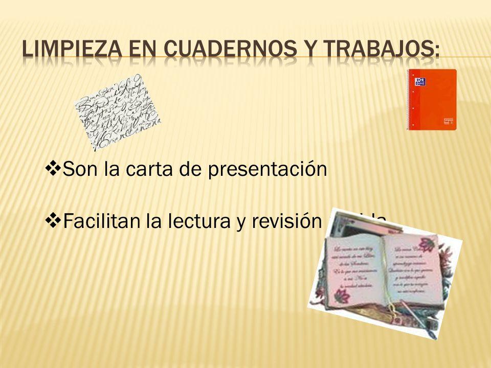 Son la carta de presentación Facilitan la lectura y revisión rápida