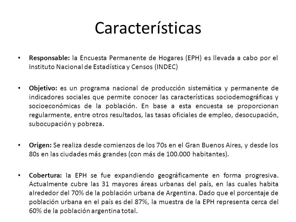 Características Responsable: la Encuesta Permanente de Hogares (EPH) es llevada a cabo por el Instituto Nacional de Estadística y Censos (INDEC) Objet