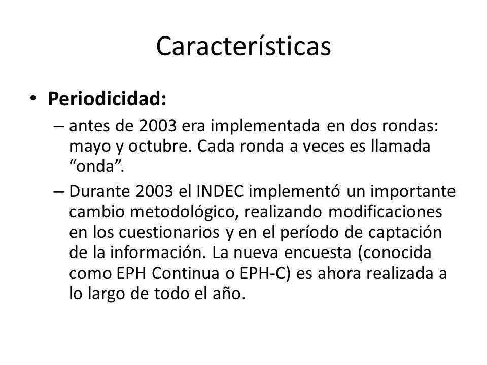 Características Periodicidad: – antes de 2003 era implementada en dos rondas: mayo y octubre. Cada ronda a veces es llamada onda. – Durante 2003 el IN