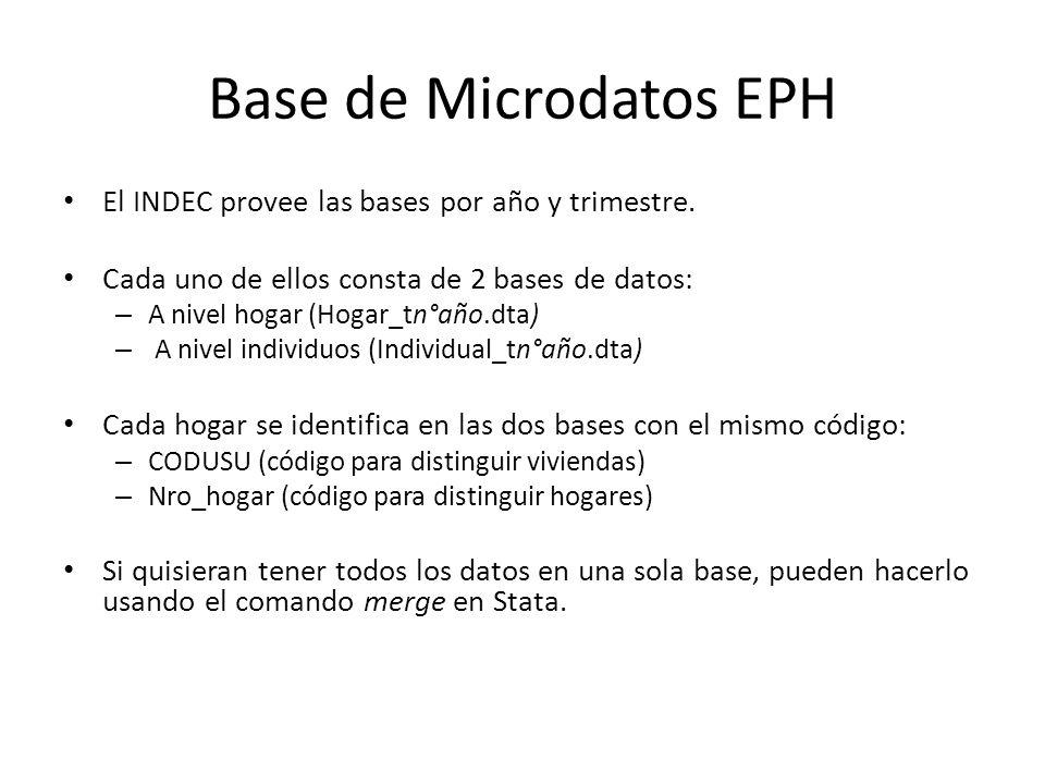 Base de Microdatos EPH El INDEC provee las bases por año y trimestre. Cada uno de ellos consta de 2 bases de datos: – A nivel hogar (Hogar_tn°año.dta)