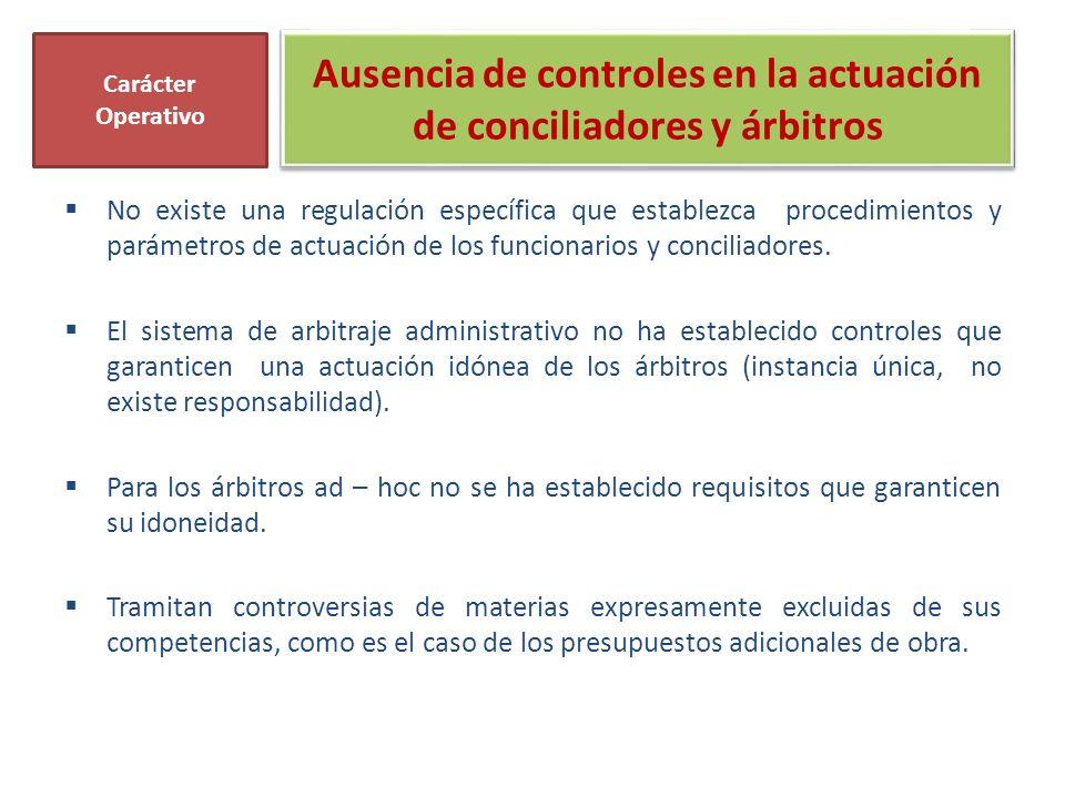 Ausencia de controles en la actuación de conciliadores y árbitros No existe una regulación específica que establezca procedimientos y parámetros de actuación de los funcionarios y conciliadores.