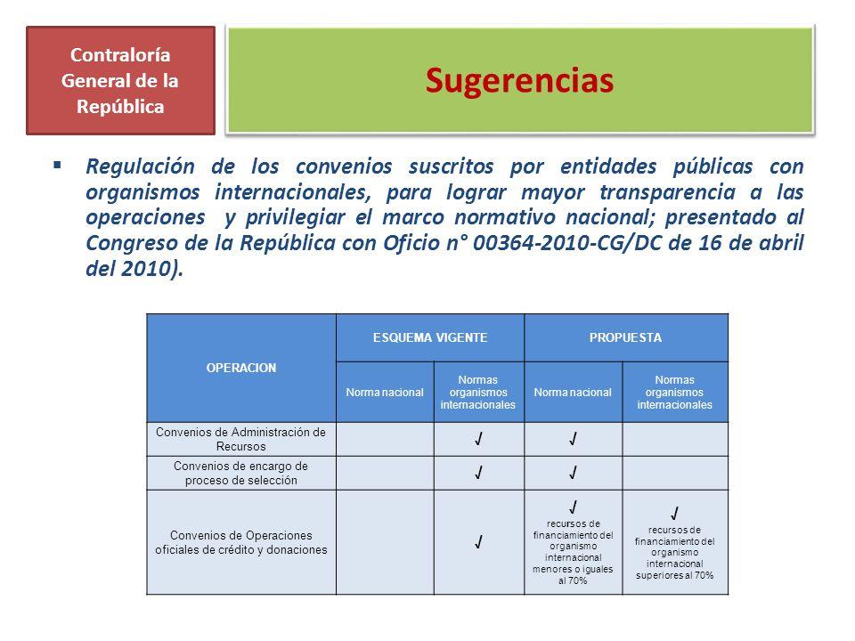 Sugerencias Regulación de los convenios suscritos por entidades públicas con organismos internacionales, para lograr mayor transparencia a las operaciones y privilegiar el marco normativo nacional; presentado al Congreso de la República con Oficio n° 00364-2010-CG/DC de 16 de abril del 2010).