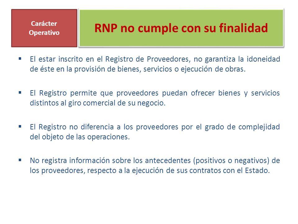 RNP no cumple con su finalidad El estar inscrito en el Registro de Proveedores, no garantiza la idoneidad de éste en la provisión de bienes, servicios o ejecución de obras.