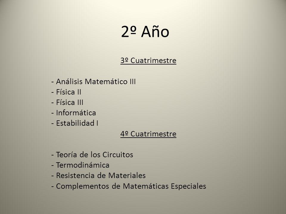 3º Año 5º Cuatrimestre - Ciencia de los Materiales - Mecánica Racional - Medidas Eléctricas - Economía y Administración de Empresas - Optativa I 6º Cuatrimestre - Mecánica de los Fluidos - Maquinas Térmicas I - Elasticidad Aplicada - Metalurgia - Optativa II