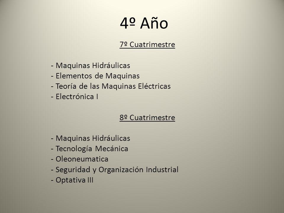 4º Año 7º Cuatrimestre - Maquinas Hidráulicas - Elementos de Maquinas - Teoría de las Maquinas Eléctricas - Electrónica I 8º Cuatrimestre - Maquinas Hidráulicas - Tecnología Mecánica - Oleoneumatica - Seguridad y Organización Industrial - Optativa III