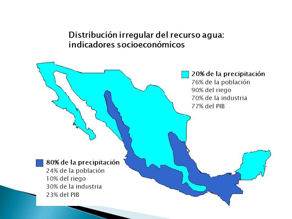 Precipitación anual 0 20 40 60 80 100 120 140 160 EneFebMarAbrMayJunJulAgoSepOctNovDic Precipitación media (mm) 0–800 mm/año 800–1,500 mm/ año Más de 1,500 mm/año Distribución espacial Distribución temporal Precipitación media anual (1941–1998) 772 mm Equivalente a 1,519 km 3