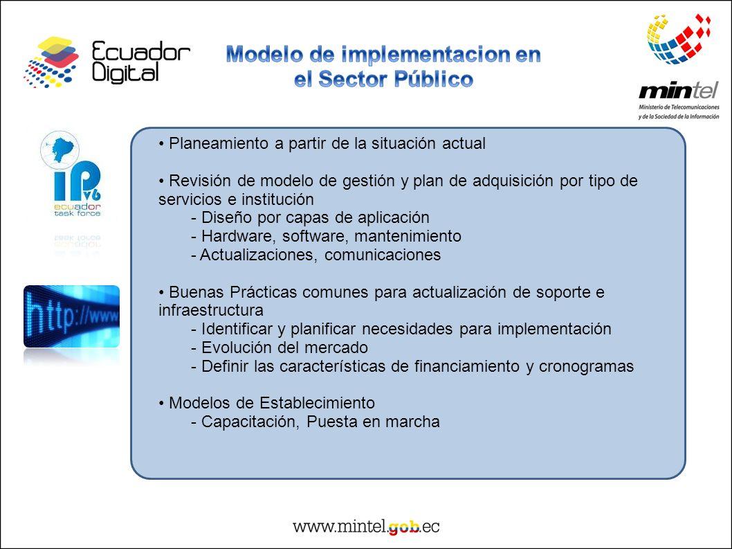 Planeamiento a partir de la situación actual Revisión de modelo de gestión y plan de adquisición por tipo de servicios e institución - Diseño por capa