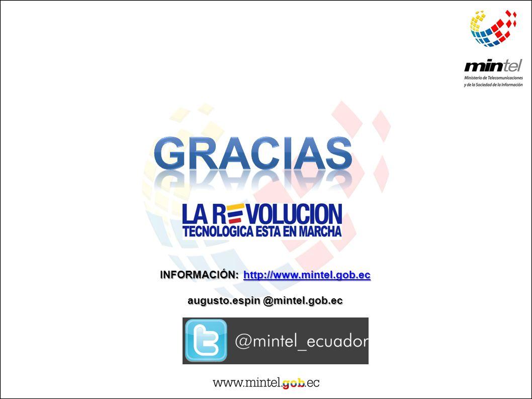INFORMACIÓN: http://www.mintel.gob.ec http://www.mintel.gob.ec augusto.espin @mintel.gob.ec