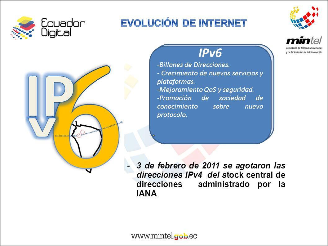 4500 Millones de direcciones IPv6 -Billones de Direcciones. - Crecimiento de nuevos servicios y plataformas. -Mejoramiento QoS y seguridad. -Promoción