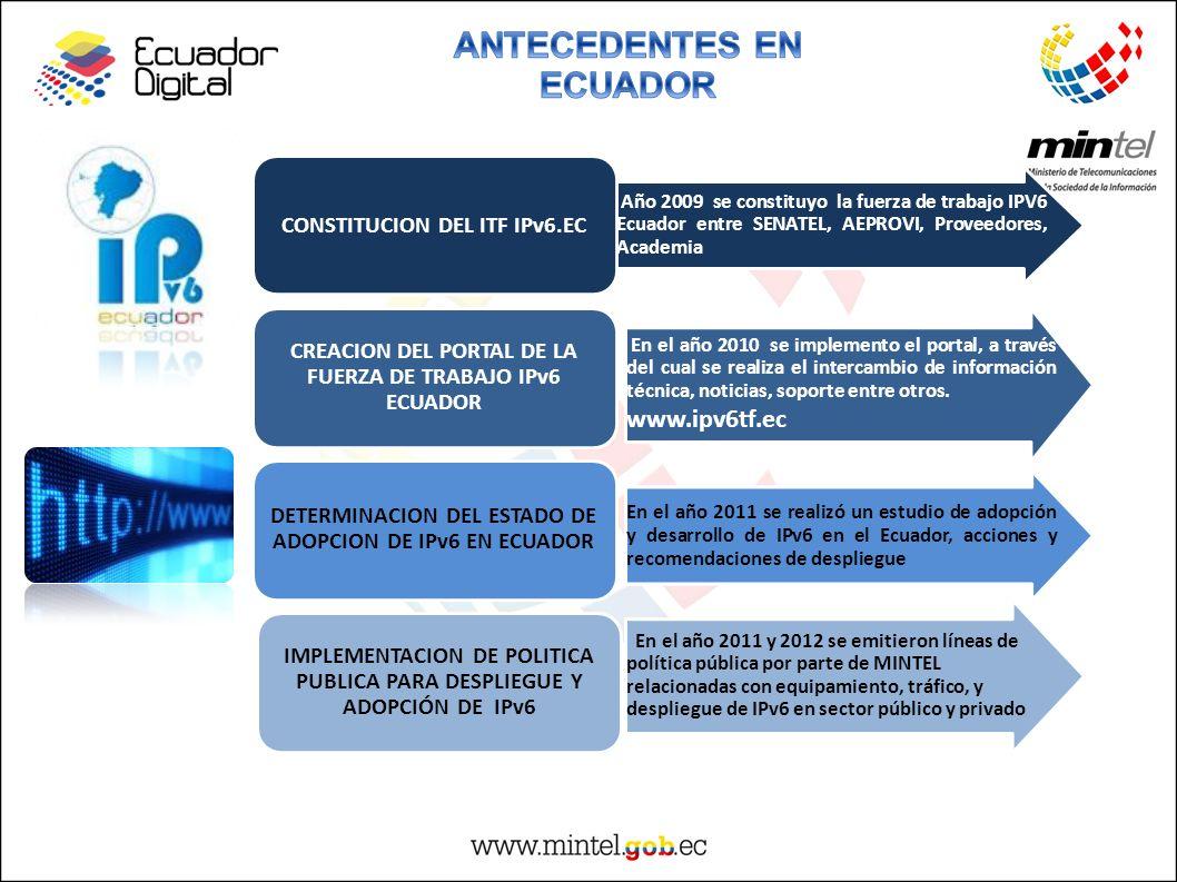 Año 2009 se constituyo la fuerza de trabajo IPV6 Ecuador entre SENATEL, AEPROVI, Proveedores, Academia CONSTITUCION DEL ITF IPv6.EC En el año 2010 se