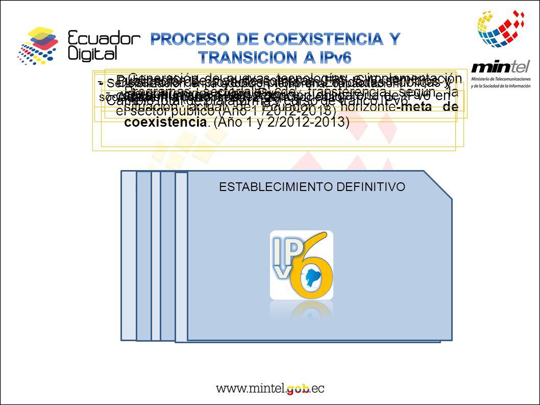 DEFINICION DE ESTRUCTURAS PARA ADQUISICIONES Y DESPLIEGUE -Publicación de plan de compras (HW, SW, servicios y capital humano IPv6). Adopción obligato