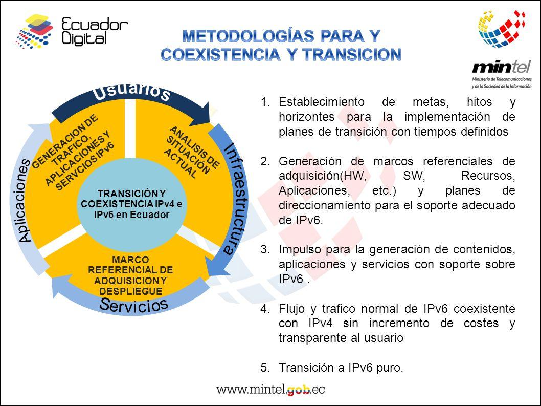 GENERACION DE TRAFICO, APLICACIONES Y SERVCIOS IPv6 ANALISIS DE SITUACIÓN ACTUAL MARCO REFERENCIAL DE ADQUISICION Y DESPLIEGUE TRANSICIÓN Y COEXISTENC