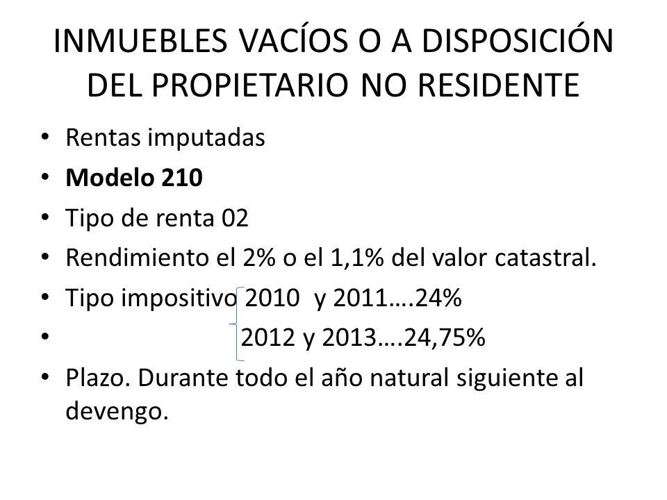 INMUEBLES VACÍOS O A DISPOSICIÓN DEL PROPIETARIO NO RESIDENTE Rentas imputadas Modelo 210 Tipo de renta 02 Rendimiento el 2% o el 1,1% del valor catastral.