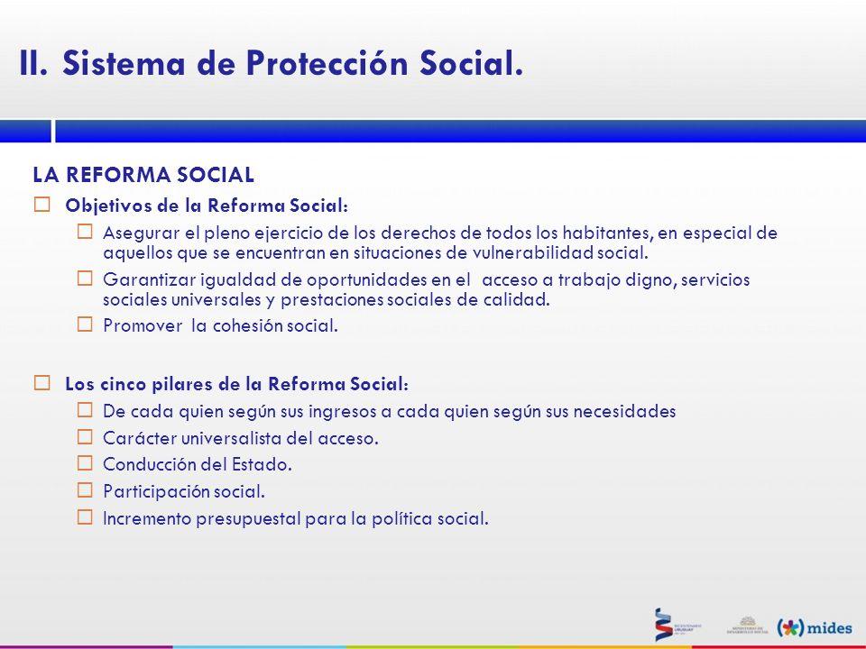 LA REFORMA SOCIAL Objetivos de la Reforma Social: Asegurar el pleno ejercicio de los derechos de todos los habitantes, en especial de aquellos que se
